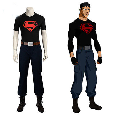 New Superhero Costume Justice League Superboy 2 Cosplay Costume Shoes Full Suit