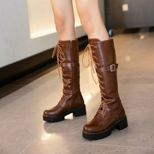 Details about  /Ladies 44//46 Mid Calf Knight Boots Zip Up Chunky Heel Round Toe Motor Shoes L