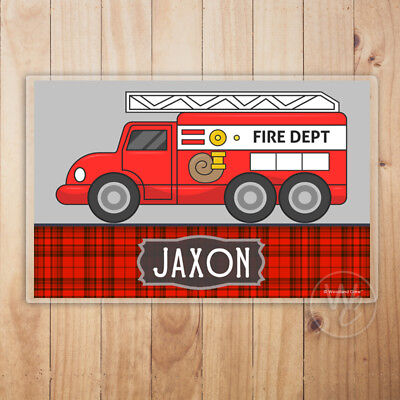 Fire Truck Placemat (Kid's Personalized Placemat, Fire Truck Laminated Placemat With Child's)