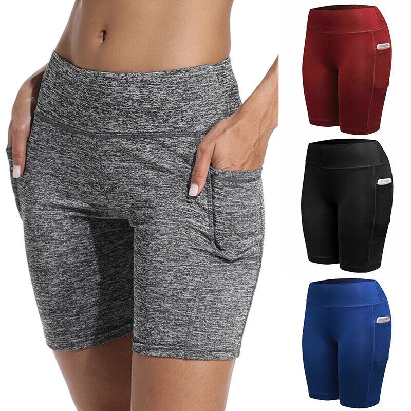 Damen Sommer Capri Kurze Hose Stoffhose Hüfthose Bermuda Radler Shorts Taschen