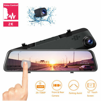 "TOGUARD 2K Mirror Dash Cam 12"" Backup Camera Voice Control Touch Screen RearView"
