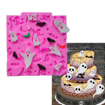 Halloween Ghosts Bats Silicone Sugar Craft Mold Cupcake Decor Fondant Cake Mould