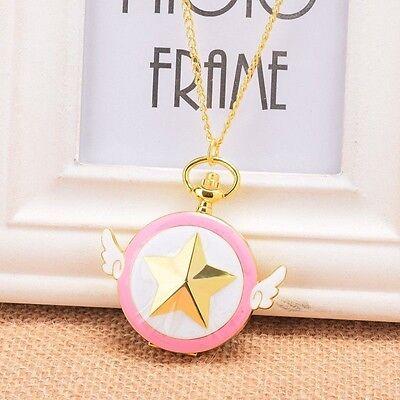 Nette Cardcaptor Sakura Taschen Uhr Anime Rosa Stern Flügel Halskette Uhr (Taschenuhr Halskette Flügel)