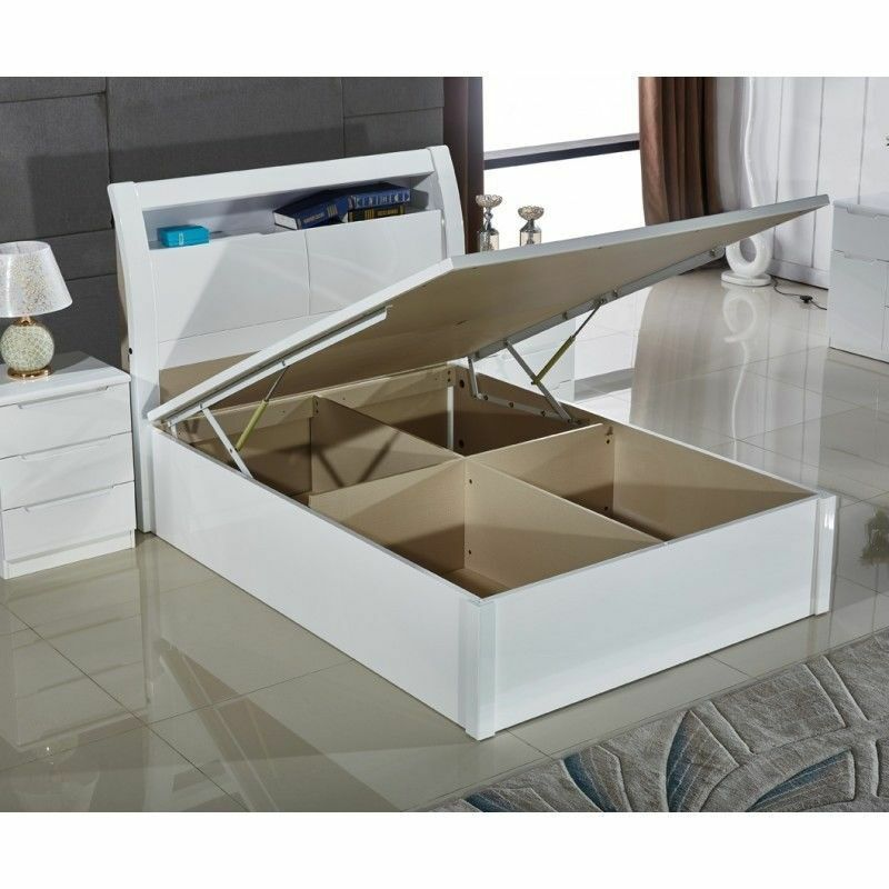 White Gloss Storage Bed