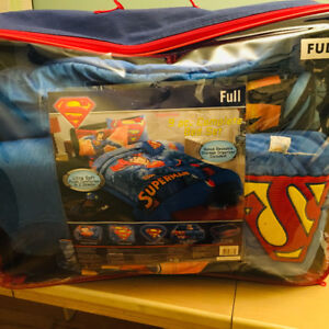 Double/ full Superman blanket, pill cases and throw pillow.