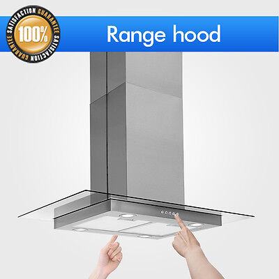 "36"" Control Stainless Steel Electronic Glass Island Mount Range Hood Panel Dual"