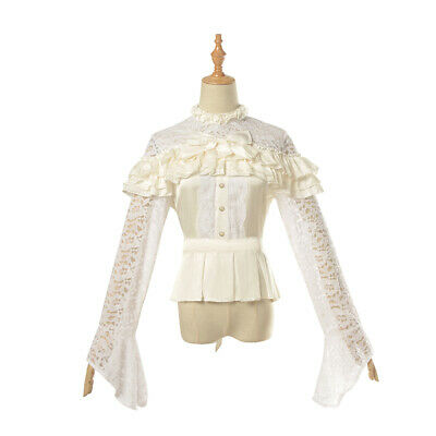 Renaissance Retro Victorian Blouse Hollow Lace Shirt Tops Gothic Lolita Shirts