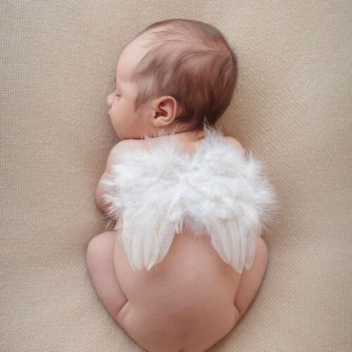 Newborn Baby White Angel Wings Headband Costume Photography Outfits Props H A5A6