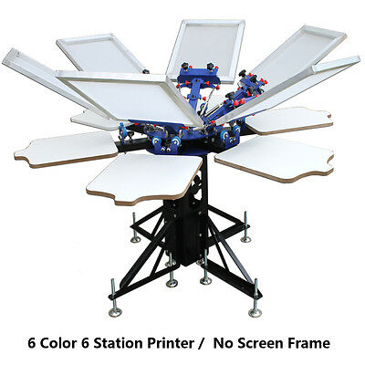6 Color Screen Printing Press Printer Machine Equipment 6 Station Diy T-shirt