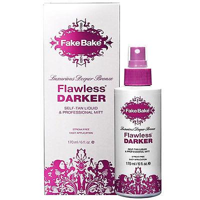 Fake Bake Flawless Darker Self Tanning Deeper Bronze Liquid + Gloves + Mitt 6 oz