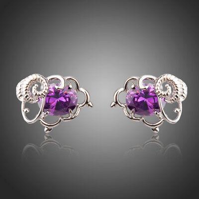 (Fashion Sheep Oval Purple Cubic Zircon Stud Earrings Party Accessories Jewellery)