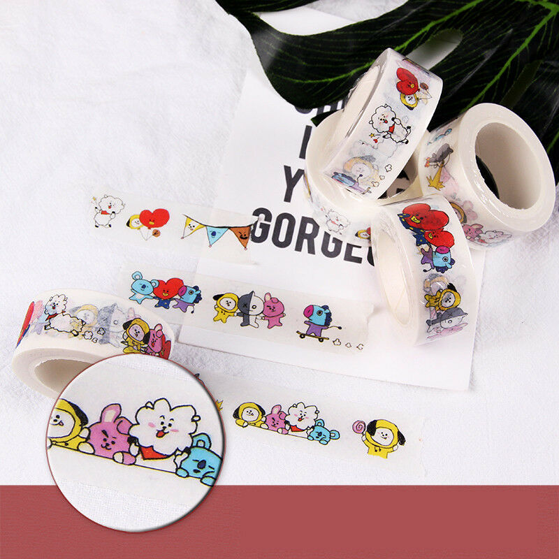 KPOP BTS Washi Tape Paper Maksing Cute DIY Scrapbook Stickers RJ COOKY