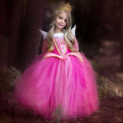 Girls Sleeping Beauty Princess Cosplay Party Dresses Children Aurora Costume