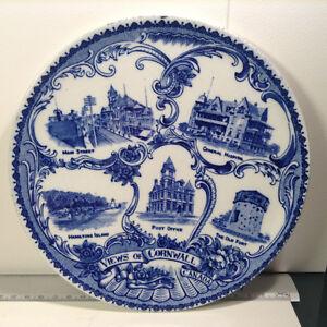 "Antique W. Adams & Co Flow Blue & White Historical 10"" Plate"