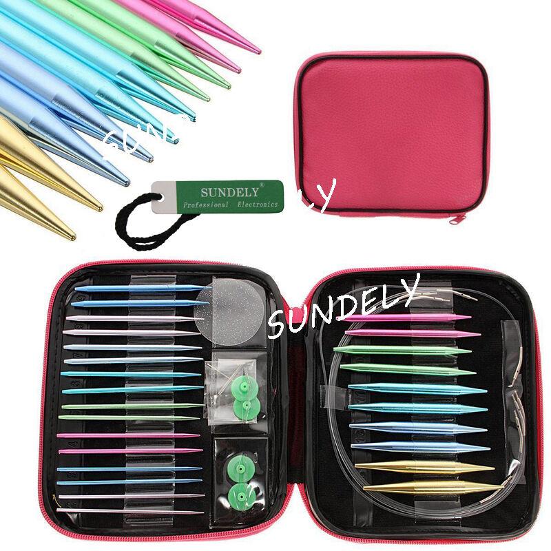 13 Sizes//Set Interchangeable Aluminum Circular Knitting Needle Set 2.75-10mm ZY