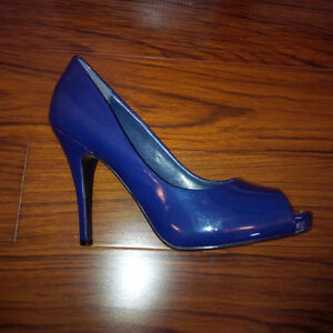 Navy Blue Peep Toe Pumps - Size 8 London Ontario image 1