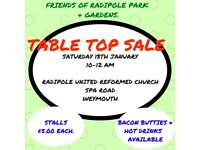 FRIENDS OF RADIPOLE PARK & GARDENS TABLE TOP SALE Saturday 13th January 2018 Radipole Weymouth