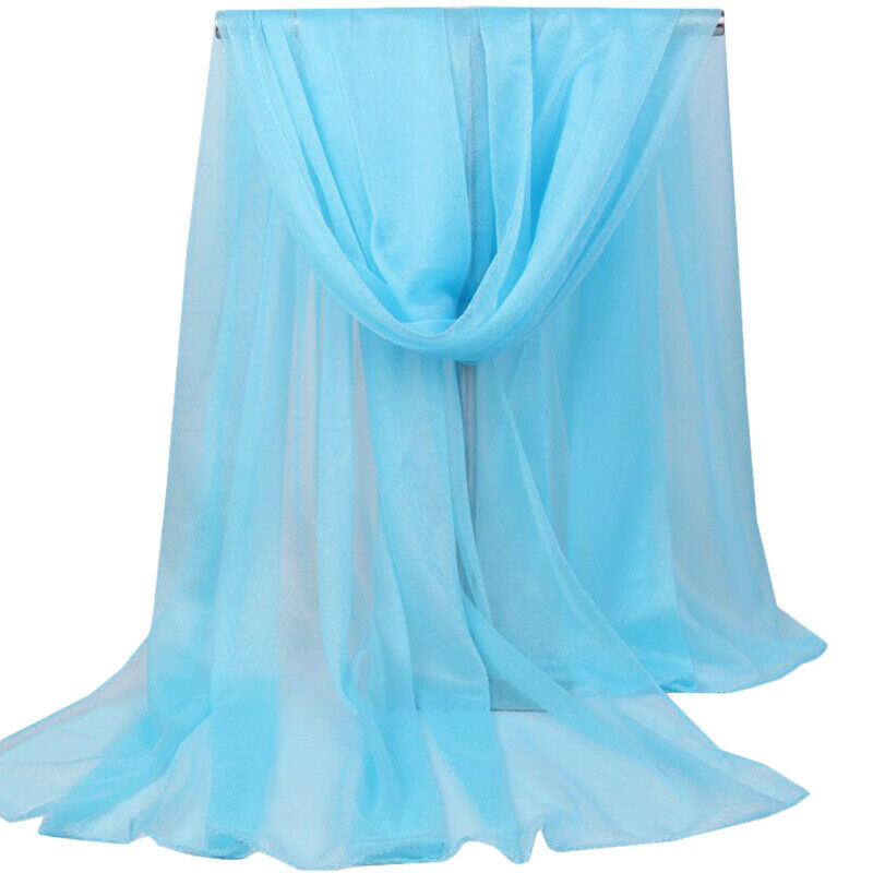 Women Chiffon Long Soft Scarf Solid Sheer Wrap Shawl Large Stole Neck Scarves Clothing, Shoes & Accessories
