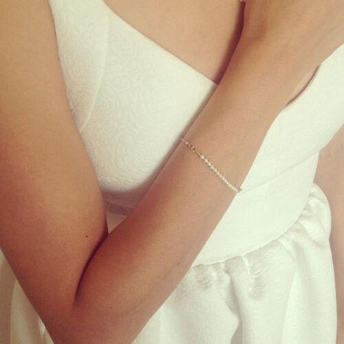 Women Fashion Elegant Simple Pearl Bead Golden Chain Bracelet Bangle