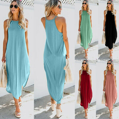 Womens Summer T Shirt Dress Tunic Tops Beach Casual Party Solid Maxi Sundress US