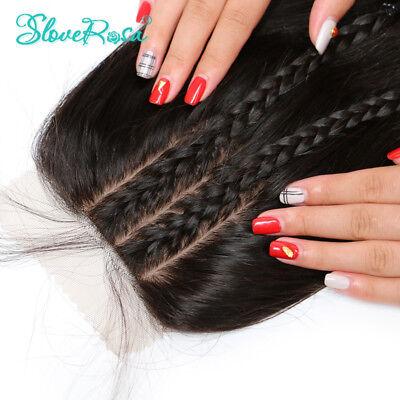 9A Unprocessed Brazilian Straight Virgin Hair Silk Base Closure Bleach Knot 1B