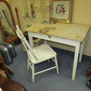ANTIQUE FARM TABLE CHAIR SHABBY VINTAGE COUNTRY PAINT PROJECT