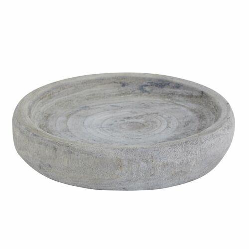 "Paulownia Wood Small Round Bowl, Gray - 6"" x 1.25"""