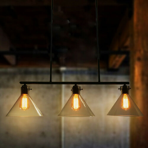 Modern Black Metal Island Pendant Lamp Glass Chandelier Fixt
