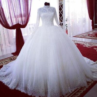Cathedral Lace Wedding Dresses Fall Winter Muslim Arabic Bridal Ball Gown Custom