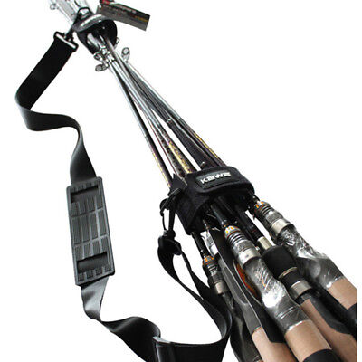 Adjustable Fishing Rod Carrier Strap Sling Band Shoulder Belt Travel - Rod Sling
