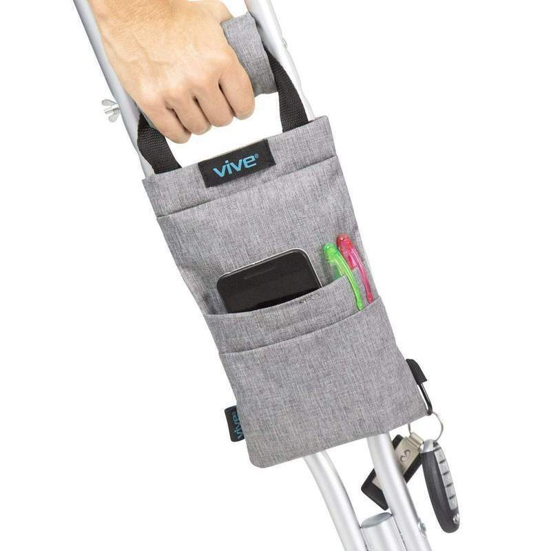 Vive Crutch Bag with NON Slip Grip - Grey