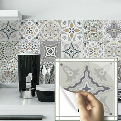 Home Decoration - 24pcs Moroccan Style Tile Wall Stickers Kitchen Bathroom Self-Adhesive Mosaic UK