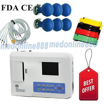 Us Seller Digital 3 Channel 12 Lead Ecgekg Machine Electrocardiograph Software