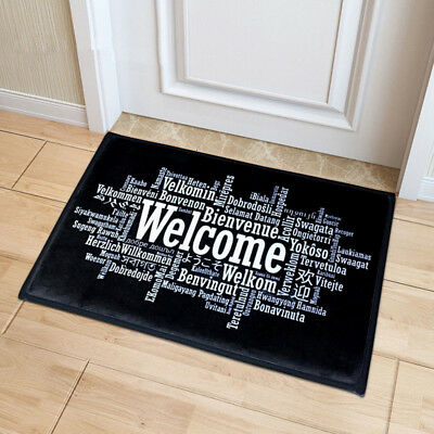 Welcome Doormat Entrance Mat Hallway Simple Black White Printed Floor Area - Area Entrance