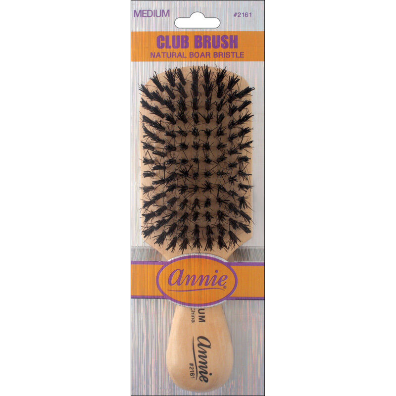 Annie Medium Wave Club Brush Light Brown 50% Nylon and 50% B