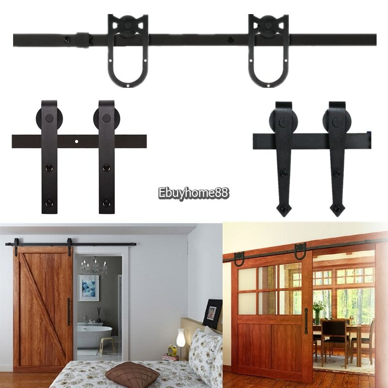 6.6FT Sliding Barn Door Hardware Kits Track System Closet Antique Country Style