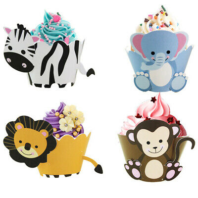 12pcs Party Decor Cake Wrapper Toppers Animals Cupcake Dinosaur Baby - Baby Shower Cupcake Decorations