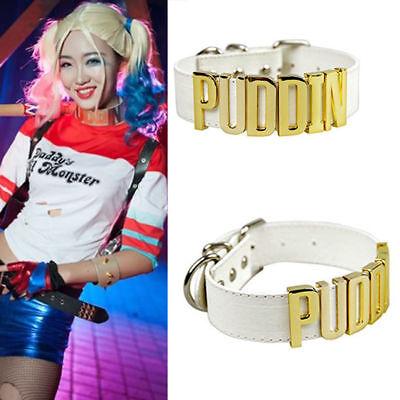 Cosplay Suicide Squad Harley Quinn Puddin Leder Halsband Choker Halskette Stütze