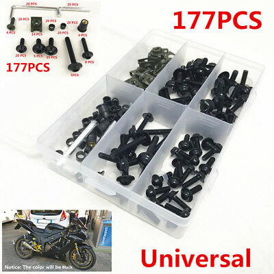 177Pcs Fairing Bolt Kit Bodywork Screws Spire Screw Spring Nuts For Motorcycles