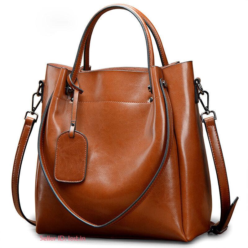 Women Genuine Cowhide Leather Handbag Shoulder Bag Tote Bags