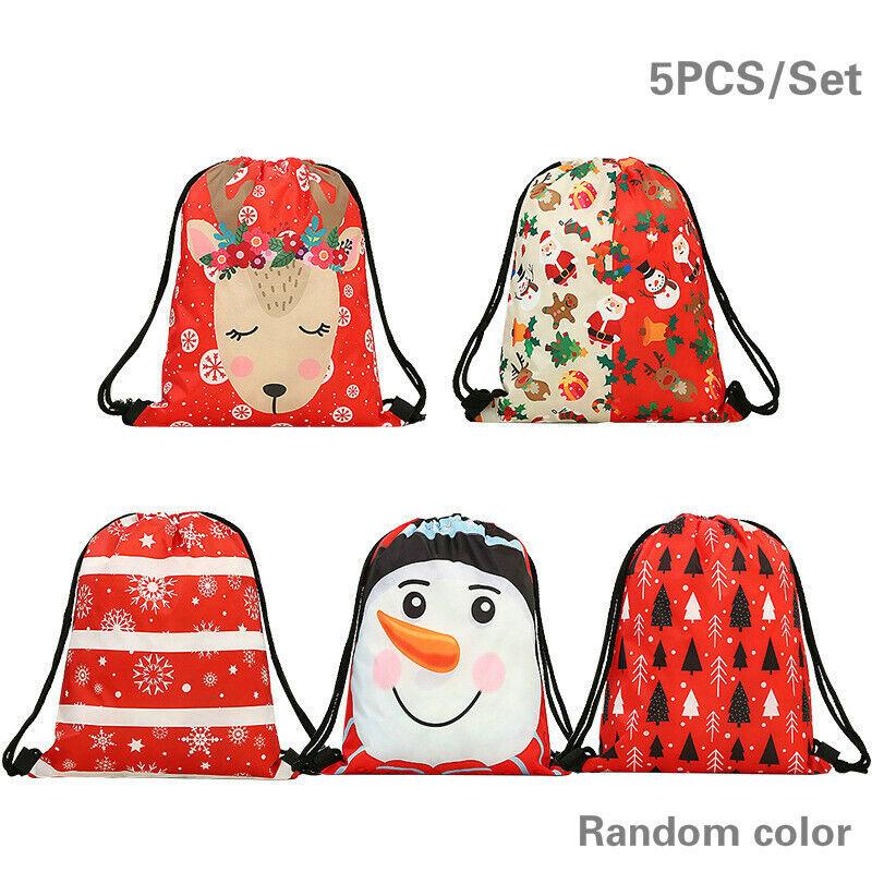 5PCS+Drawstring+Bag+Christmas+Gift+Bags+Santa+Sack+Backpack+Favors+Candy