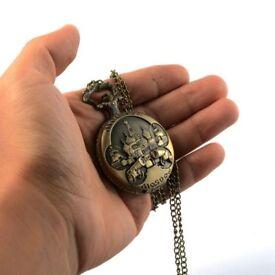Vintage Gold Colors Charming Double Gun Carved Openable Steampunk Quartz Pocket Watch