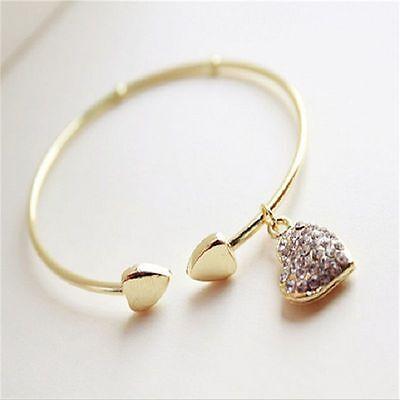 Fashion Jewelry Love  Heart Pendant Charm Gold  Rhinestone Bangle Cuff Bracelet