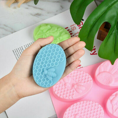 Mold Mould Chocolate Honey Oval Bee DIY Cell 6 Cake Craft Handmade Silicone Soap
