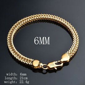 18K Gold Plated Bracelet Men's/Ladies 6mm x 21cm Chain Fashion Jewellery - NEW