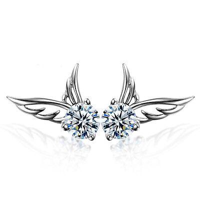 Women 925 Sterling Silver Jewelry Elegant Crystal Ear Stud Earrings Angel Wing
