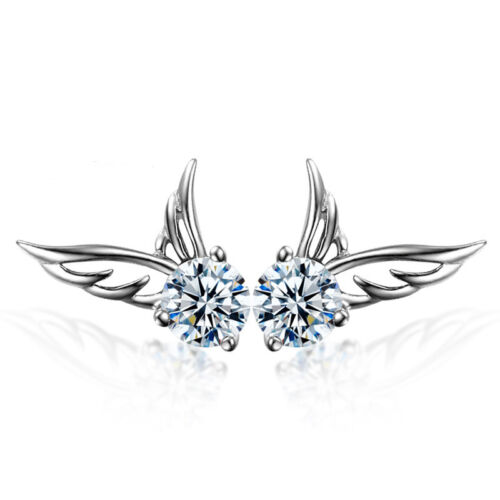 Earrings - Women 925 Sterling Silver Jewelry Elegant Crystal Ear Stud Earrings Angel Wing