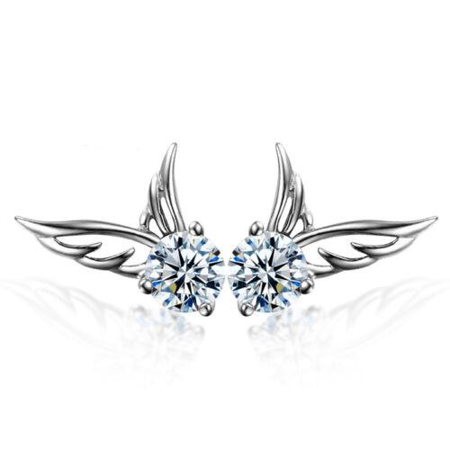 Earrings - Women 925 Sterling Silver Jewelry Elegant Crystal Ear Stud Earrings Angel Wing