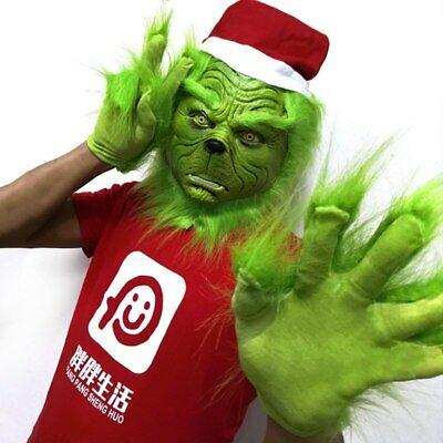 Xmas The Grinch Glove Cosplay Mask Costume Christmas Prop How the Grinch Stole