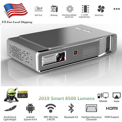 8500 Lumens Full HD 1080P 4K DLP Projector Wifi 3D Theater Cinema HDMI RJ45 SD